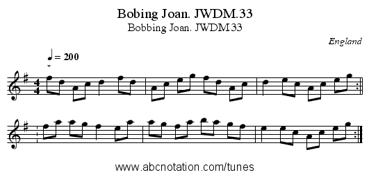 Bobing Joan. JWDM.33 - staff notation