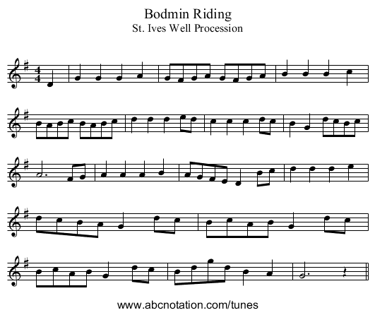Bodmin Riding - staff notation