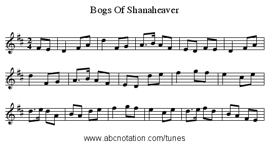 Bogs Of Shanaheaver - staff notation