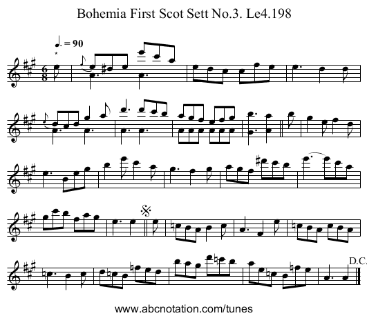Bohemia First Scot Sett No.3. Le4.198 - staff notation