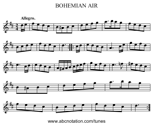 BOHEMIAN AIR - staff notation