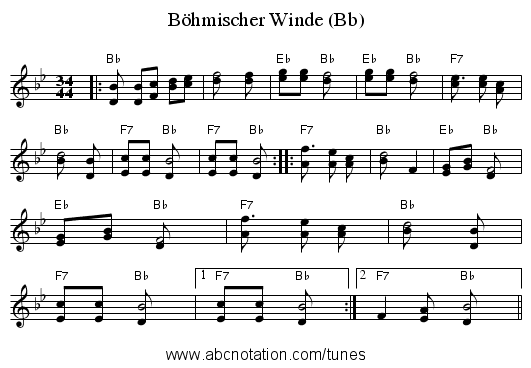 Böhmischer Winde (Bb) - staff notation