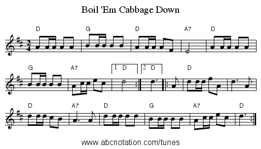 Boil 'Em Cabbage Down - staff notation