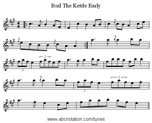 Boil The Kettle Early - staff notation