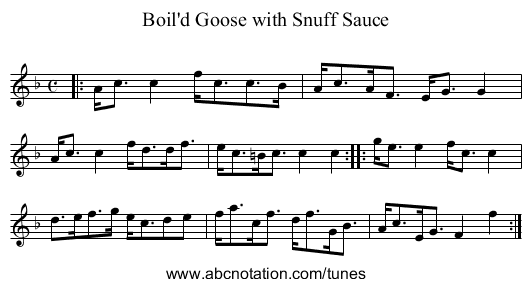Boil'd Goose with Snuff Sauce - staff notation