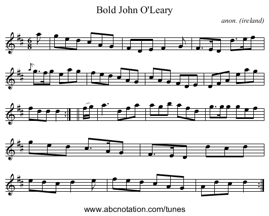 Bold John O'Leary - staff notation