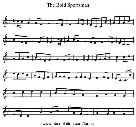 Bold Sportsman, The - staff notation