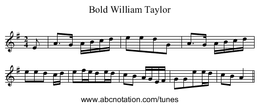 Bold William Taylor - staff notation