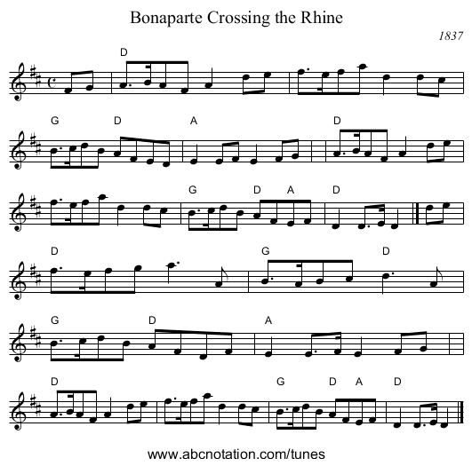 Bonaparte Crossing the Rhine - staff notation
