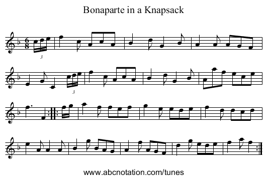 Bonaparte in a Knapsack - staff notation
