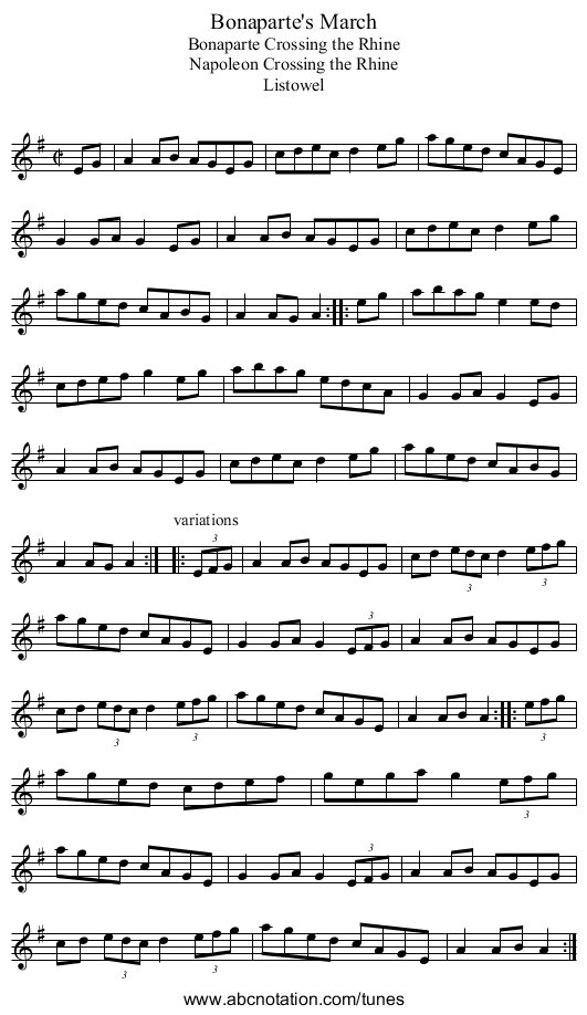 Bonaparte's March - staff notation