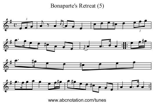 Bonaparte's Retreat (5) - staff notation