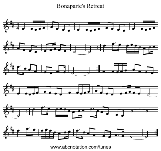 Bonaparte's Retreat - staff notation