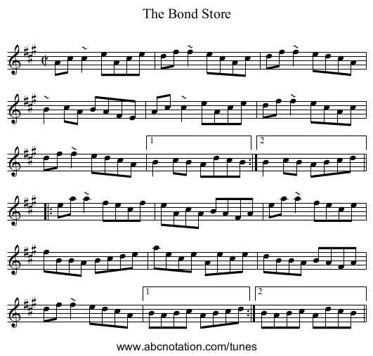 Bond Store, The - staff notation