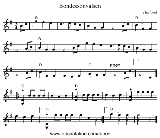 Bondessonvalsen - staff notation
