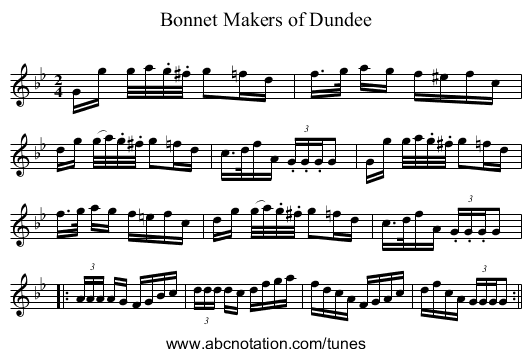Bonnet Makers of Dundee - staff notation