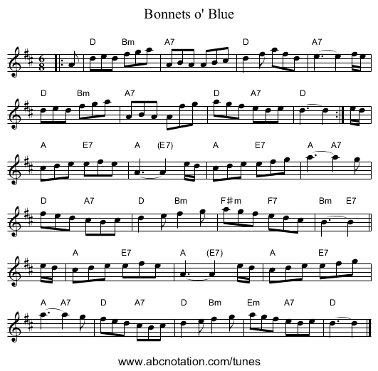 Bonnets o' Blue - staff notation