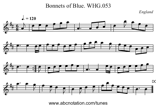Bonnets of Blue. WHG.053 - staff notation