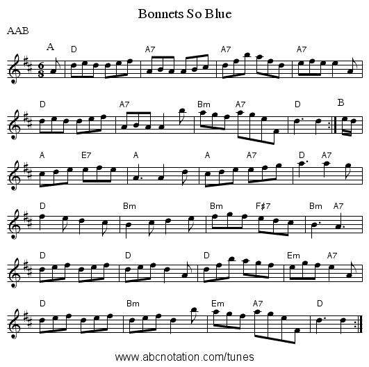 Bonnets So Blue - staff notation