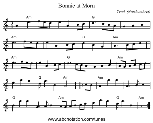 Bonnie at Morn - staff notation