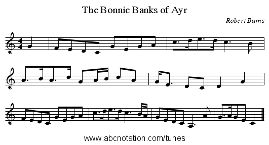 Bonnie Banks of Ayr, The - staff notation