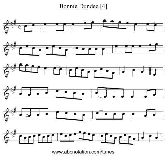Bonnie Dundee [4] - staff notation