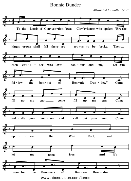 Bonnie Dundee - staff notation