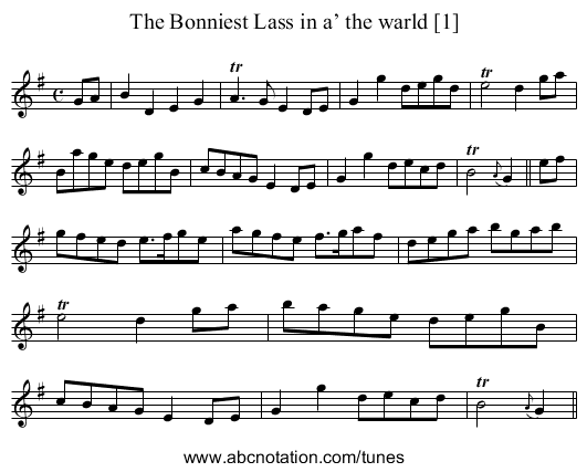 Bonniest Lass in a the Warld [1], The - staff notation