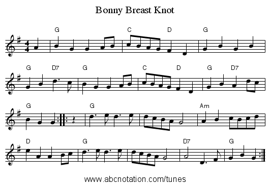 Bonny Breast Knot - staff notation
