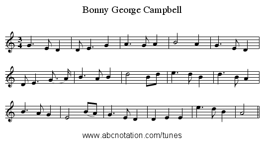 Bonny George Campbell - staff notation