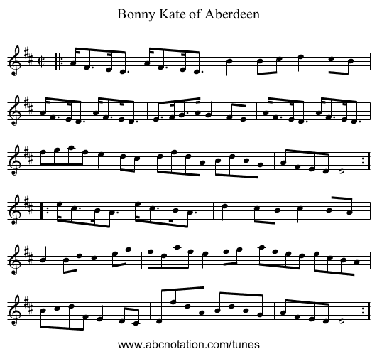 Bonny Kate of Aberdeen - staff notation