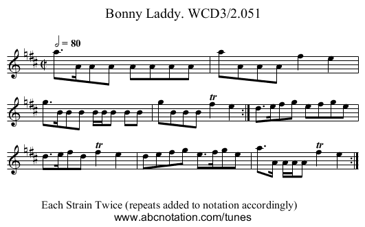 Bonny Laddy. WCD3/2.051 - staff notation