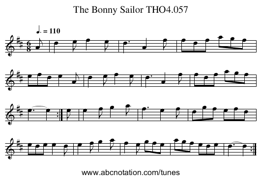 Bonny Sailor THO4.057, The - staff notation