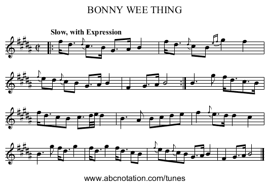 BONNY WEE THING - staff notation
