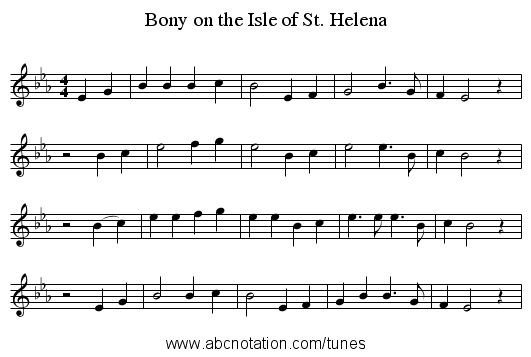Bony on the Isle of St. Helena - staff notation