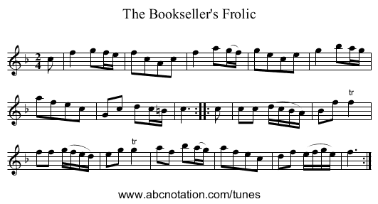 Bookseller's Frolic, The - staff notation