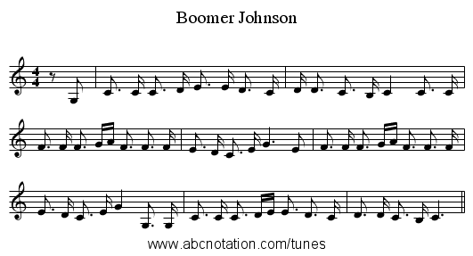 Boomer Johnson - staff notation