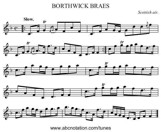 BORTHWICK BRAES - staff notation