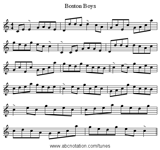 Boston Boys - staff notation