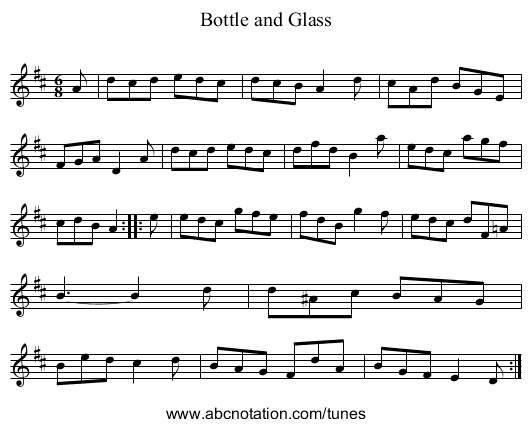 Bottle and Glass - staff notation