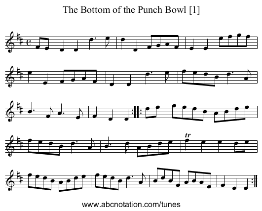 Bottom of the Punch Bowl [1], The - staff notation