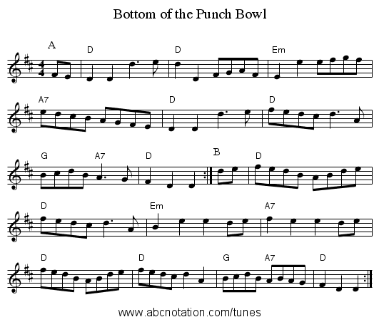 Bottom of the Punch Bowl - staff notation
