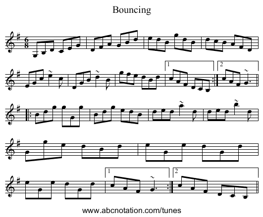 Bouncing - staff notation