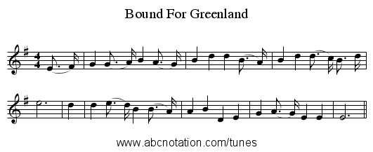 Bound For Greenland - staff notation