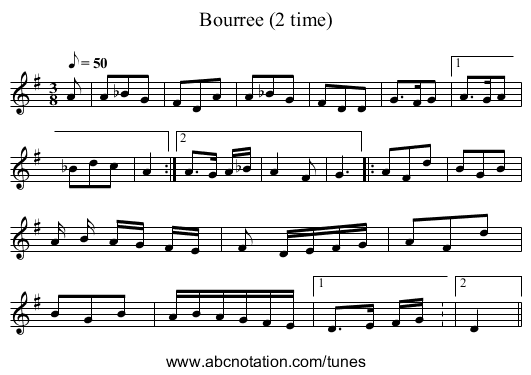 Bourree (2 time) - staff notation