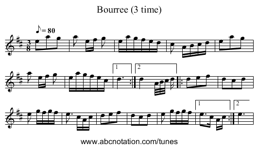 Bourree (3 time) - staff notation