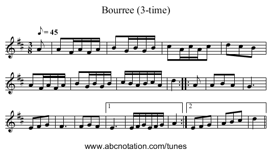 Bourree (3-time) - staff notation