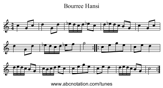 Bourree Hansi - staff notation