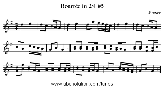 Bourrée in 2/4 #5 - staff notation