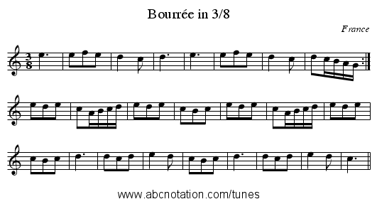 Bourrée in 3/8 - staff notation